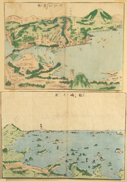 Anonymous. Pair of Japanese Woodblocks Maps of the View of the Inland Sea of Japan.